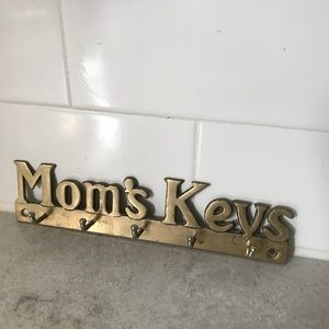 Mom's keys brass wall hanging 1980s vintage